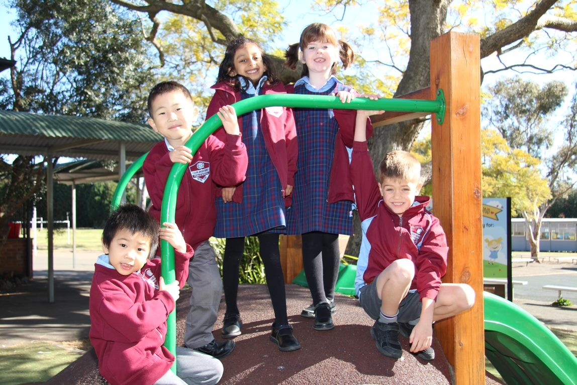 Kindergarten students on Akshayee's playground